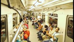 People in subway timelapse, crowd in out when train stops, click for HD Stock Footage