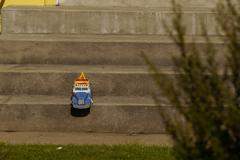 Toy truck on porch step Stock Photos