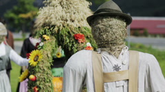 Exhibition of scarecrows Stock Footage