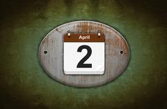 Old wooden calendar with april 2. Stock Illustration