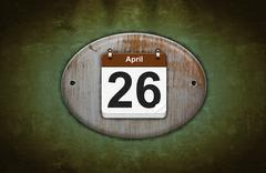 Stock Illustration of old wooden calendar with april 26.