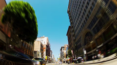 Low Angle Driving Old Downtown Los Angeles- Fast Motion - stock footage