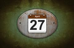 Stock Illustration of old wooden calendar with april 27.