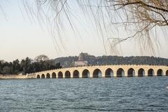 Seventeen hole bridge in summer palace Stock Photos