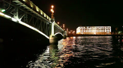 Ship passing under the Trinity bascule bridge at night cruise - stock footage