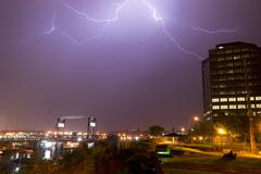 Electrical storm lightning strikes bolts murray morgan bridge washington Stock Photos