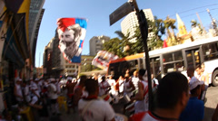 Sao Paulo Hooligans peacefully fuel in the street before a football match Stock Footage