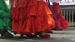 Spanish Flamenco performing on an outdoor stage Stock Footage