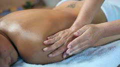 Massaging therapy of woman arms - stock footage