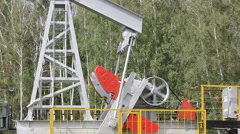 Oil pump working in the forest. Oil industry equipment. - stock footage