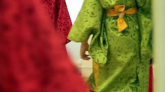 Close up of young girls dressed as japanese old fashioned clothes - stock footage