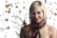 The fall girl with bouquet Stock Photos