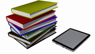 Stock Video Footage of Books transferred into tablet