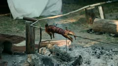 Whole rabbit roasting on barbecue in camp - stock footage