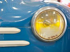nakhon pathom, thailand - august 28 : blue vintage car in exhibition of old c - stock photo