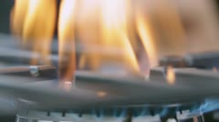 Turning on the cooktop gas cooker Stock Footage