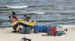 Fishing boat on the seashore of the Baltic Sea 3 Stock Footage