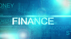 CG montage fly through business success finance text words - stock footage