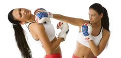 twins punching ko - stock photo