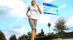 CG montage of Caucasian woman outside fitness with GPS - stock footage