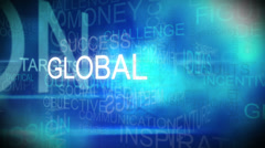 3D montage of graphic text background with business theme - stock footage