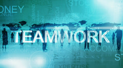 3D fly through finance text words motion networking background - stock footage
