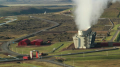 Aerial View of Krafla Geothermal Power Station in Iceland Stock Footage