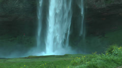 Seljalandsfoss waterfall in Iceland closeup Stock Footage