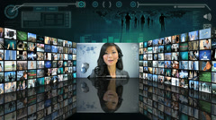 CG graphic montage wall of Multi ethnic people working online  Stock Footage