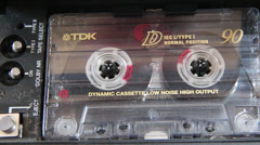 Cassette recorder playing a tape Stock Footage