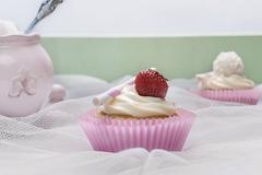 cupcake with strawberry - stock photo