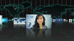 3D fly through montage of Multi ethnic business managers working touch screen - stock footage