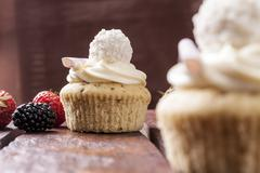 Cupcake with strawberries in studio Stock Photos