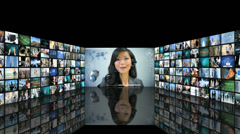 Video wall of Multi ethnic finance experts using touch screen technology - stock footage