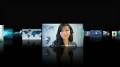 Montage of Asian, African American and Caucasian people working online  - stock footage