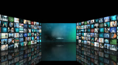 CG graphic montage wall of images stock, graphs and fingers using touch screen  Stock Footage