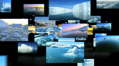 Montage of fly through images melting ice floating in moving water  Stock Footage