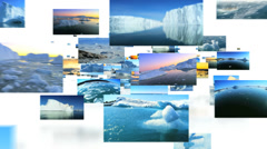 Montage of images floating ice from glaciers melting of climate change - stock footage