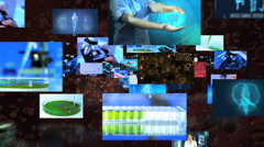 Montage of Multi ethnic medical researchers working in hospital laboratory  Stock Footage
