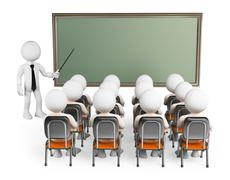3d white people. students in class - stock illustration