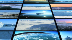 Video wall of images rising arctic water and drifting glaciers  Stock Footage