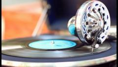 Old gramophone playing at sunny day. Good atmosphere, click for HD Stock Footage