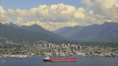 North Vancouver BC Canada with Clouds and Water Traffic Transportation Timelapse Stock Footage