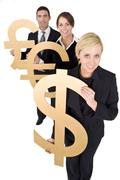 Happy business team man and two women holding giant money currencies Stock Photos