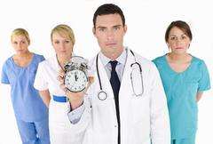 medical team man and three women - stock photo