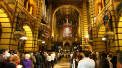 Sunday Mass was held at Mosteiro de Sao Bento in Sao Paulo Stock Footage