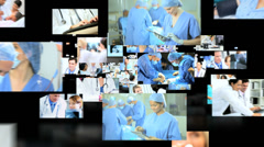 3D fly through Caucasian, Asian and African American doctors treating operating - stock footage