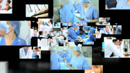 Stock Video Footage of 3D fly through Caucasian, Asian and African American doctors treating operating