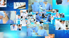 CG montage fly through medical Multi ethnic team keeping records Stock Footage