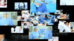 3D fly through Multi ethnic doctors team treating patient in hospital  Stock Footage